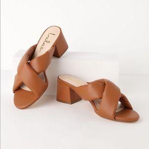 Lulu's Cushion Strap Block Heel Slide Sandals